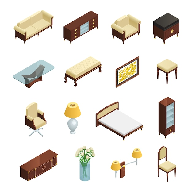 Luxury interior isometric elements set for bedroom living room and study with furniture and decorati Free Vector