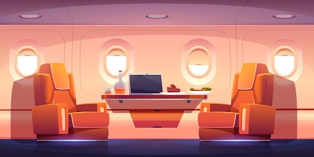 Interni di lusso di jet privato con poltrone Vettore gratuito