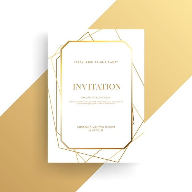 Luxury invitation card with golden texture Premium Vector