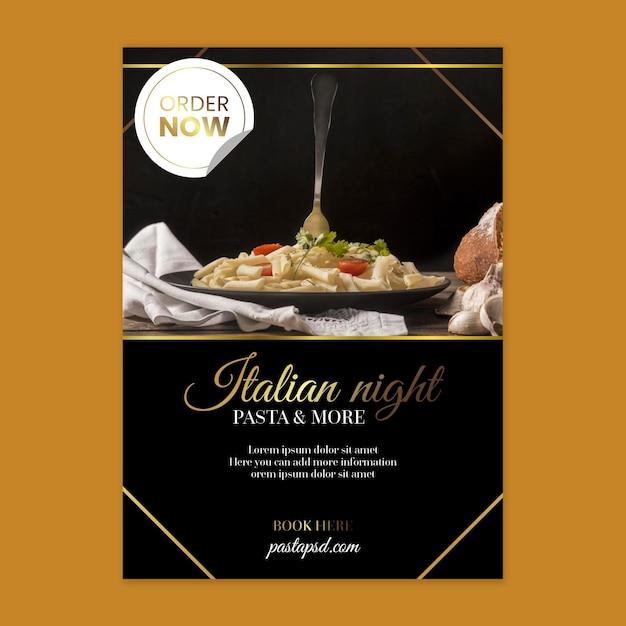 Luxury italian food postertemplate Free Vector