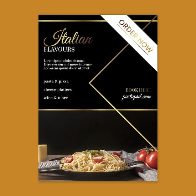 Шаблон вертикального флаера роскошной итальянской кухни Бесплатные векторы