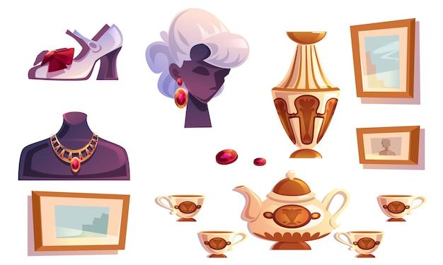 Articoli di lusso femminili gioielli in oro, vaso, quadri Vettore gratuito