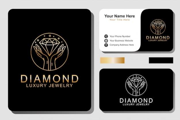 Luxury  jewelery logo and business card Premium Vector