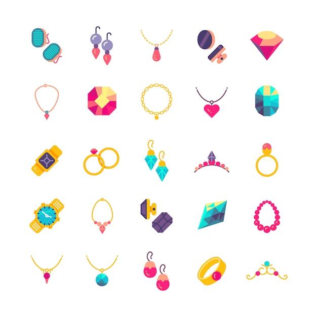 Luxury jewelry flat vector icons Premium Vector