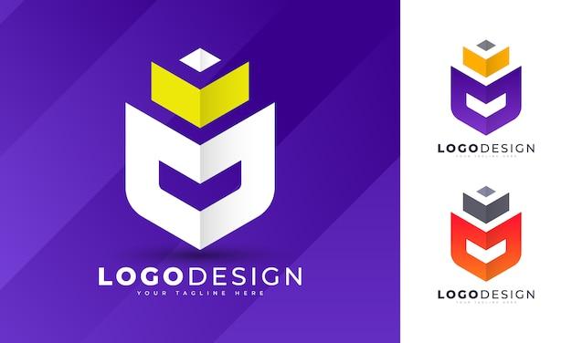 高級キングm文字ロゴデザインテンプレート Premiumベクター