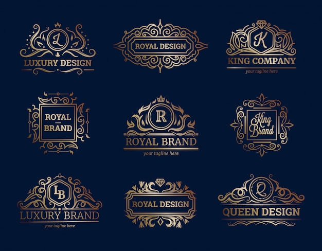 Luxury labels design set with premium quality symbols flat isolated vector illustration Free Vector