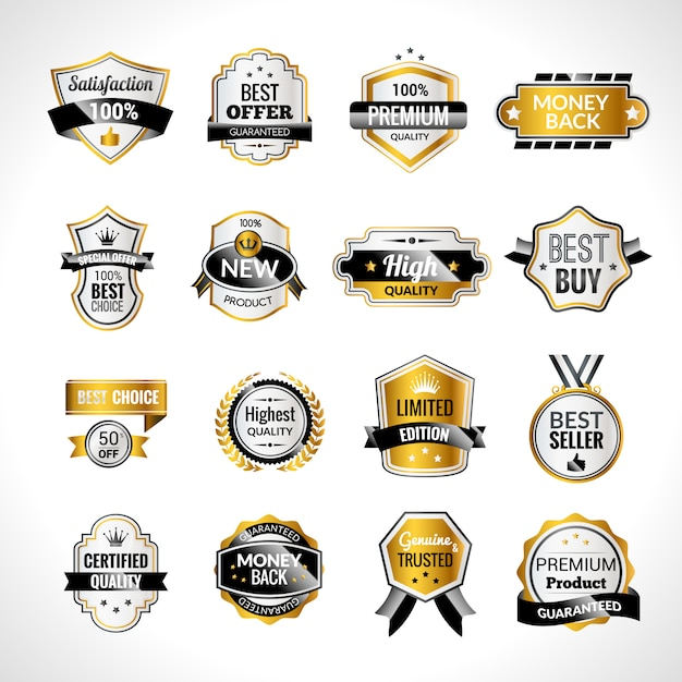 Luxury labels gold and black Free Vector
