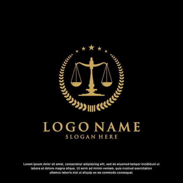 Luxury law logo design with badges that have star elements and laurels Premium Vector