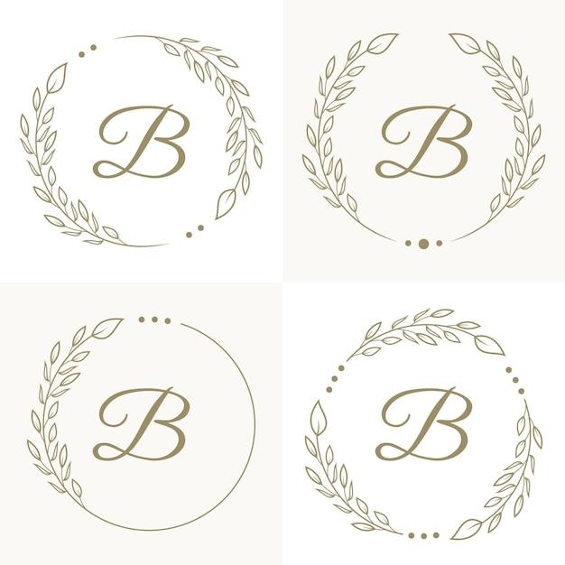 꽃 프레임 배경 템플릿 럭셔리 편지 B 로고 디자인 프리미엄 벡터