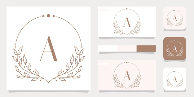 Luxury letter a logo design with floral frame template, business card design Premium Vector
