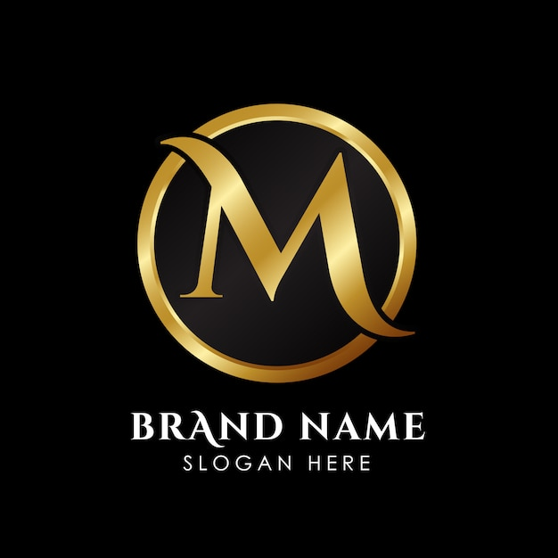 Luxury letter m logo template in gold color. Premium Vector