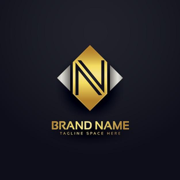 Luxury letter n logo design Free Vector