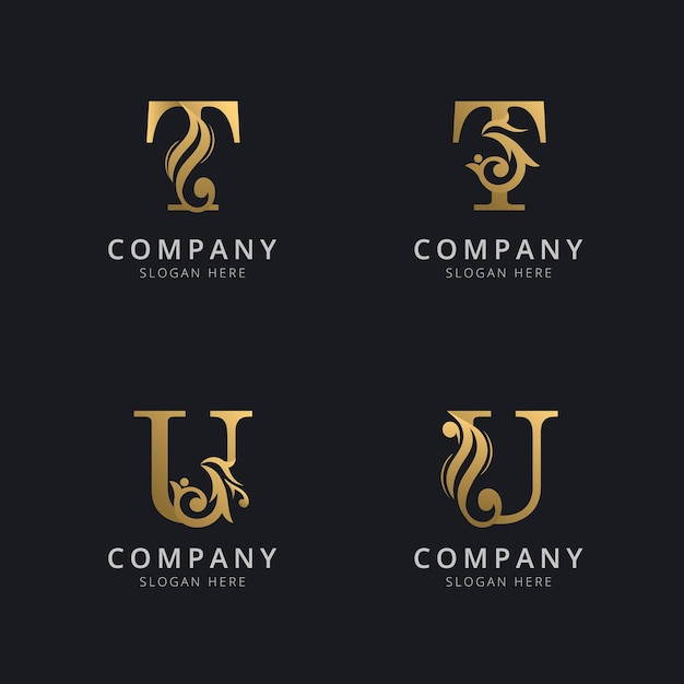 Luxury letter t and u with gold color logo template Premium Vector