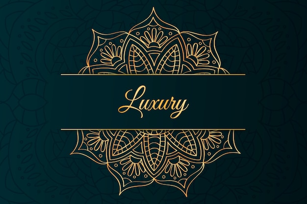 Luxury lettering and mandala background Free Vector