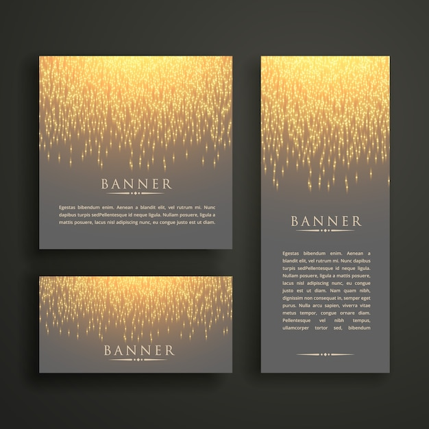 luxury light sparkle banner card design in different sizes Free Vector