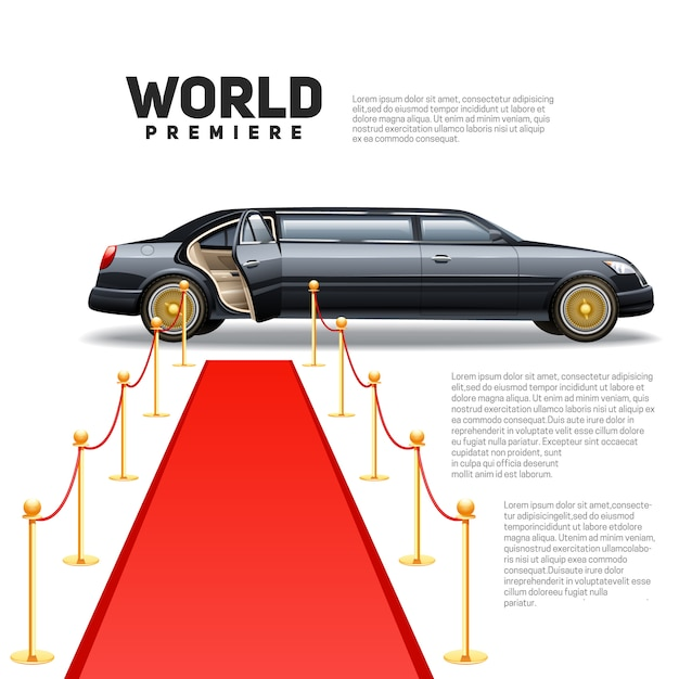 Luxury limousine car and red carpet for world premiere celebrities and guests poster Free Vector