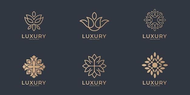Luxury line art beauty logo  collection Premium Vector