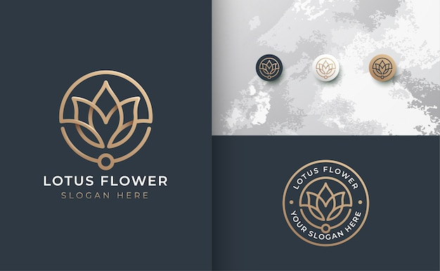 豪華なラインアートの花のロゴのデザイン Premiumベクター