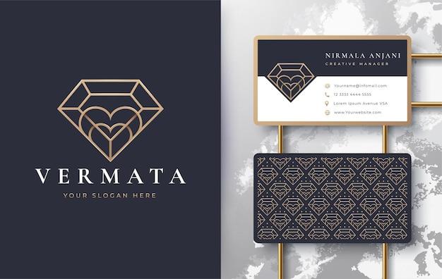 Luxury line art love diamond logo design Premium Vector