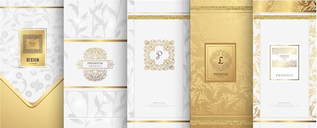 贅沢なロゴとゴールドのパッケージデザイン Premiumベクター