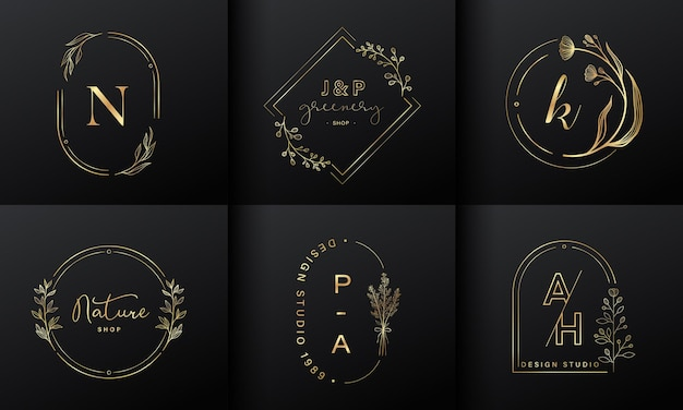 Luxury logo design collection. golden emblems with initials and floral decorative for branding logo, corporate identity and wedding monogram design. Free Vector