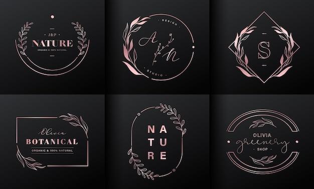 럭셔리 로고 디자인 컬렉션. 브랜드 로고, 기업 정체성 및 웨딩 모노그램 디자인을위한 이니셜 및 꽃 장식이있는 로즈 골드 엠블럼. 무료 벡터