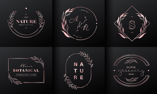 Luxury logo design collection. rose gold emblems with initials and floral decorative for branding logo, corporate identity and wedding monogram design. Free Vector