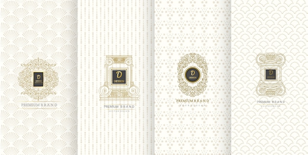 Luxury logo design and luxury background for packaging Premium Vector