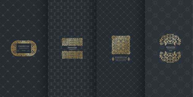 Luxury logo design for packaging Premium Vector
