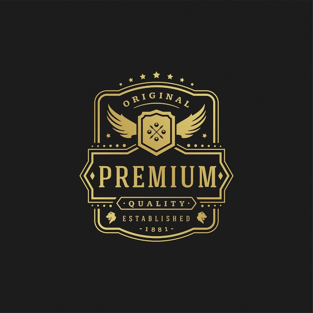 Luxury logo design template vector illustration victorian vignettes royal ornament shapes for logotype or label design. Premium Vector