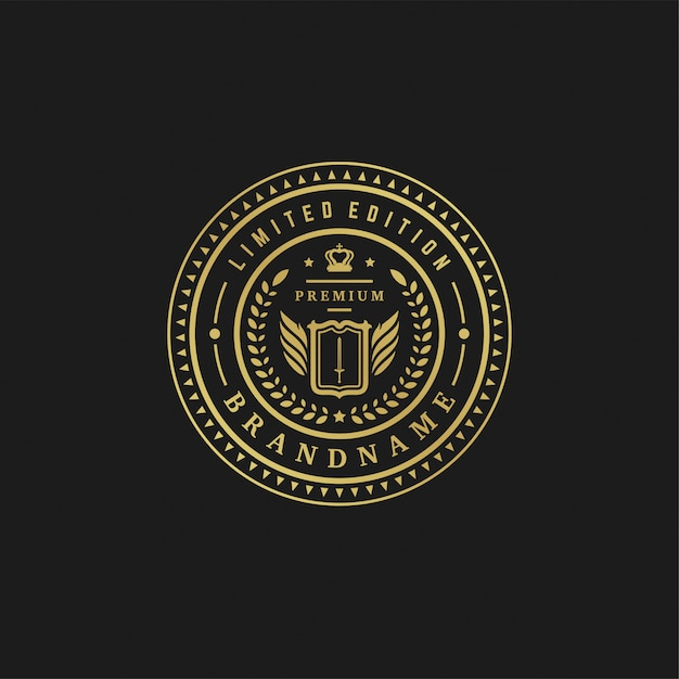 Luxury logo design template vector illustration victorian vignettes royal ornament shapes for logotype or label design. Premium Vector