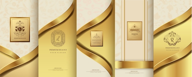 Luxury logo and gold packaging design Premium Vector
