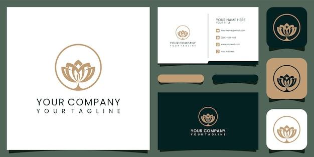豪華な蓮のロゴと名刺。ファッション、スパ、美容院のロゴの良い使用プレミアムベクトル Premiumベクター