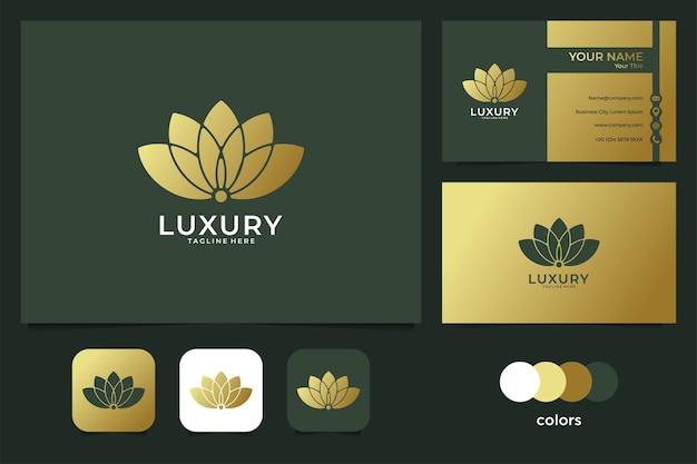 럭셔리 로터스 로고 및 명함. 패션, 스파 및 미용실 로고에 적합 프리미엄 벡터
