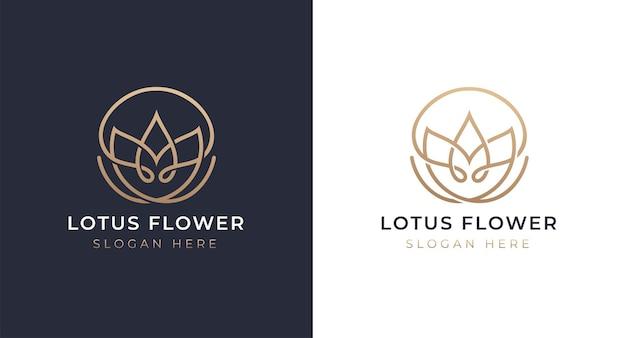 豪華な蓮のロゴのデザイン Premiumベクター