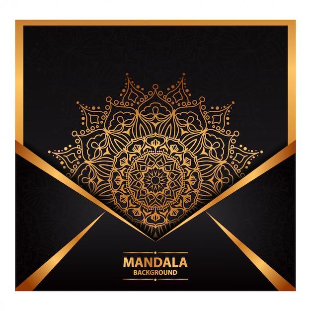 Luxury mandala art for wedding invitation Premium Vector