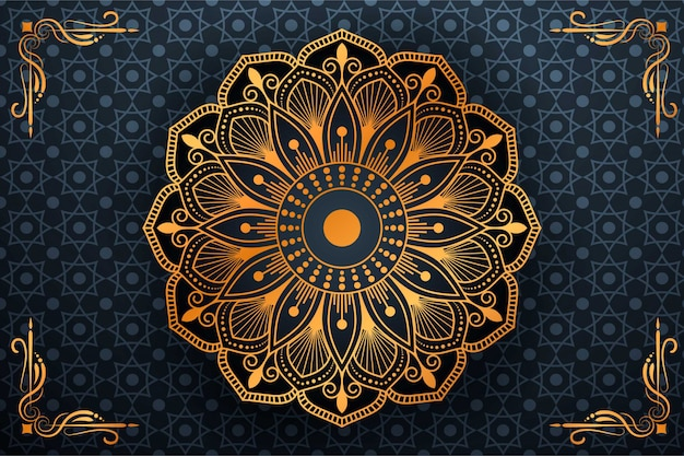 Luxury mandala art with background arabic islamic style Premium Vector