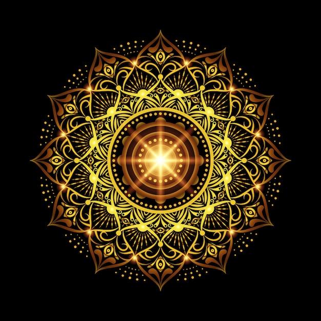 ゴールドアラベスクパターンアラビアイスラム東スタイルと高級マンダラ背景 Premiumベクター