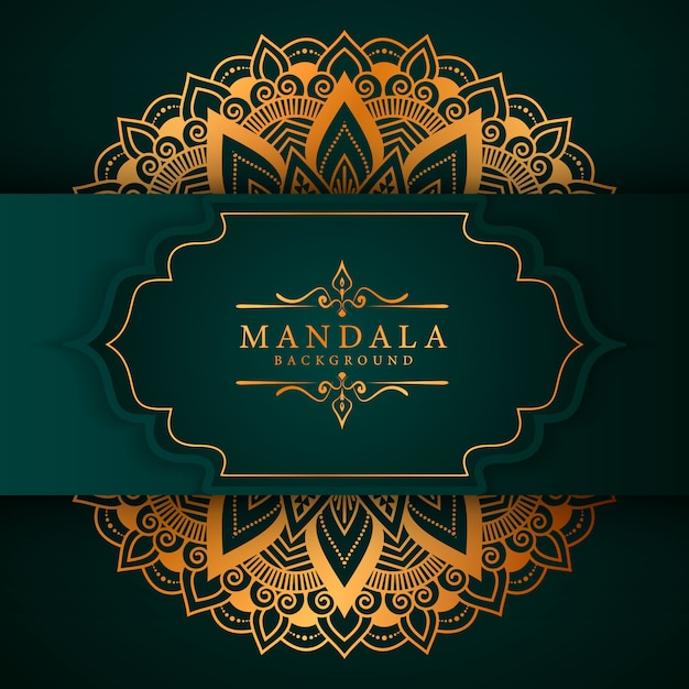 黄金の唐草模様の高級マンダラ背景 Premiumベクター