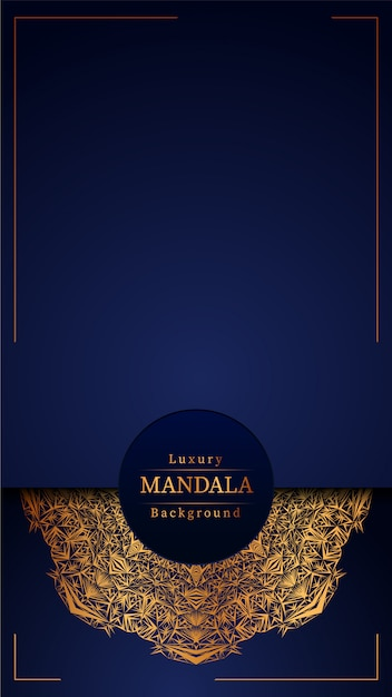 Luxury mandala blue background Premium Vector
