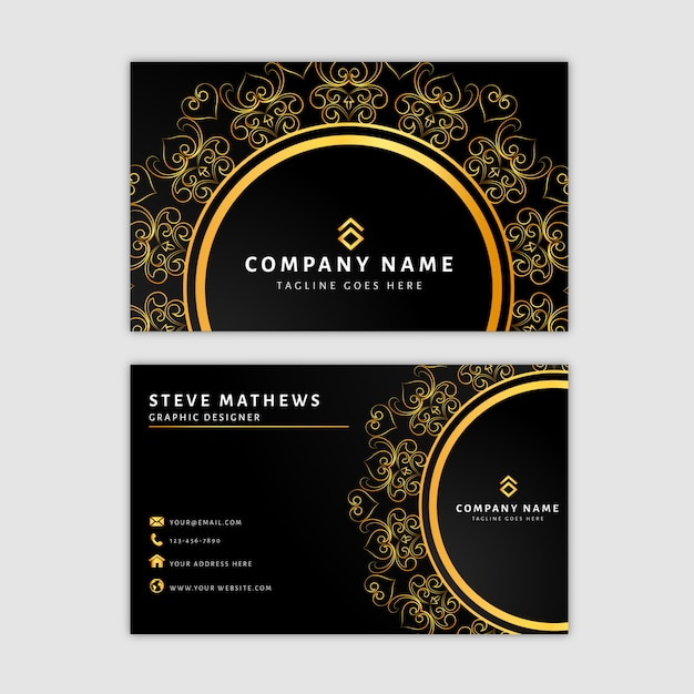 Luxury mandala business card template Premium Vector