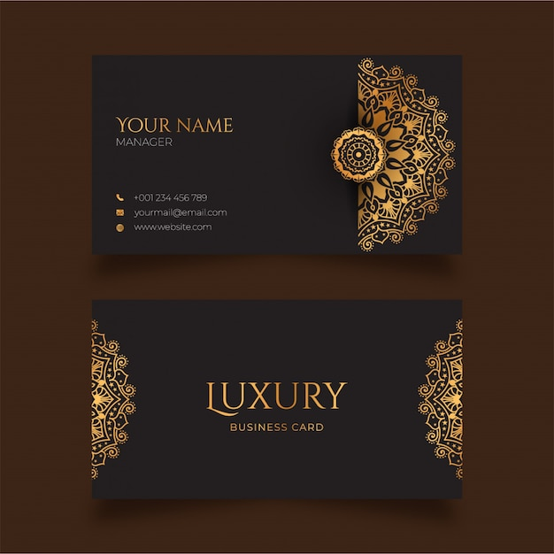 Luxury mandala business card with golden pattern arabic islamic style Premium Vector