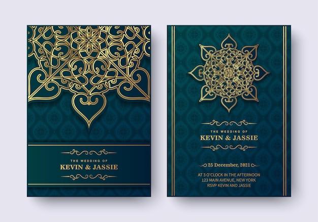 Роскошное свадебное приглашение в стиле мандалы Premium векторы