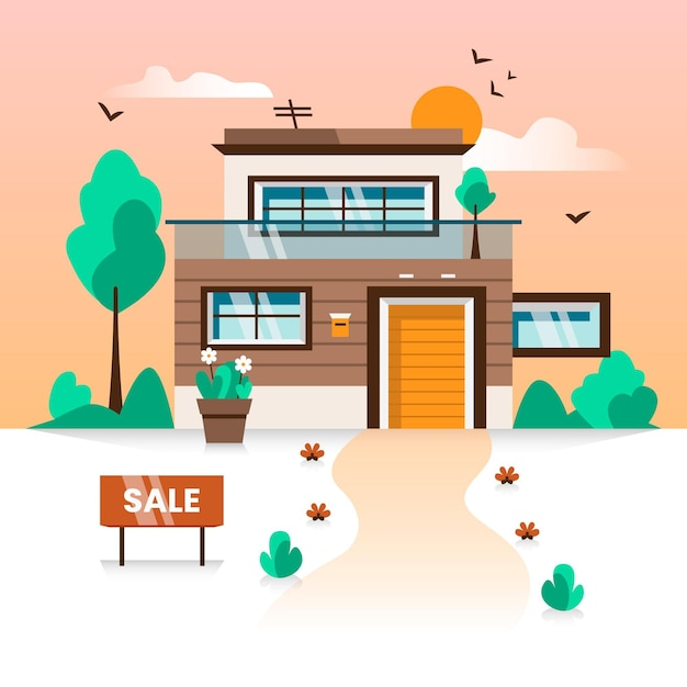 Luxury mansion sale and rent concept Free Vector