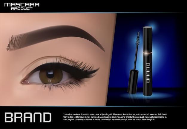 Luxury mascara ad Premium Vector