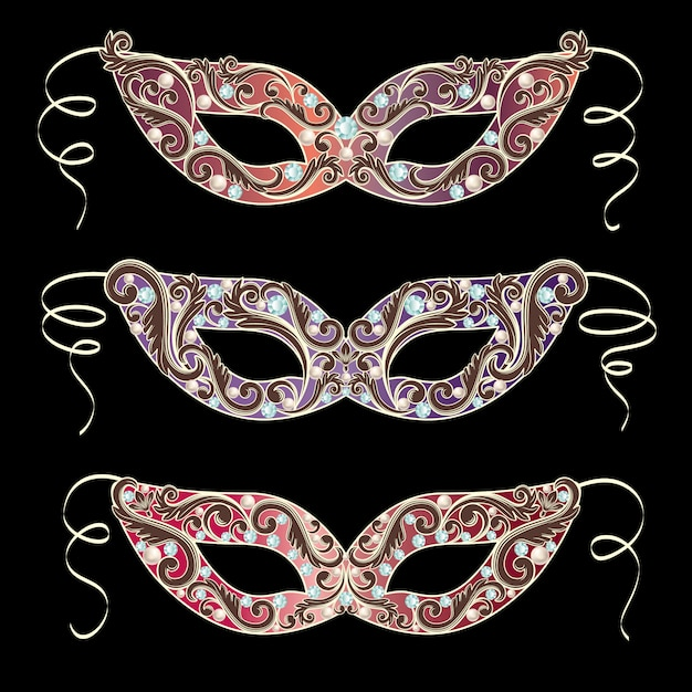 Luxury masquerade mask set collection Premium Vector