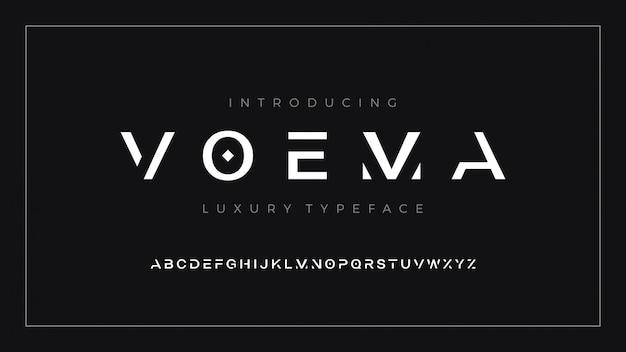 Роскошный современный чистый набор букв шрифта voema font Premium векторы