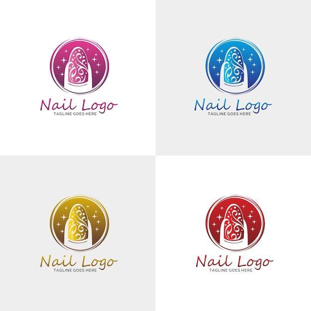 Luxury nail salon logo Premium Vector