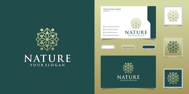 럭셔리 천연 꽃 로고 디자인 템플릿 및 명함 프리미엄 벡터