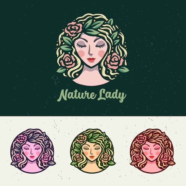 Luxury nature lady иллюстрация логотип Premium векторы